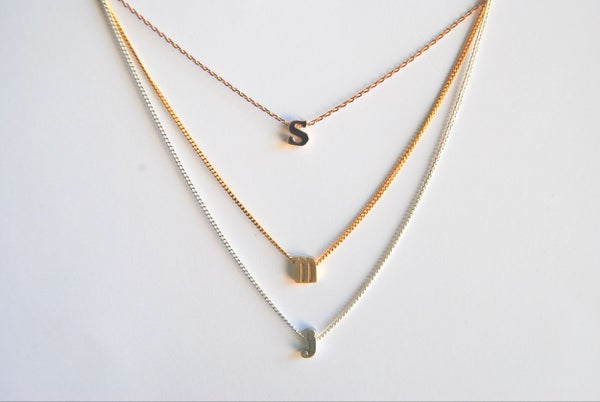 Image of Single Letter Birtstone Necklace