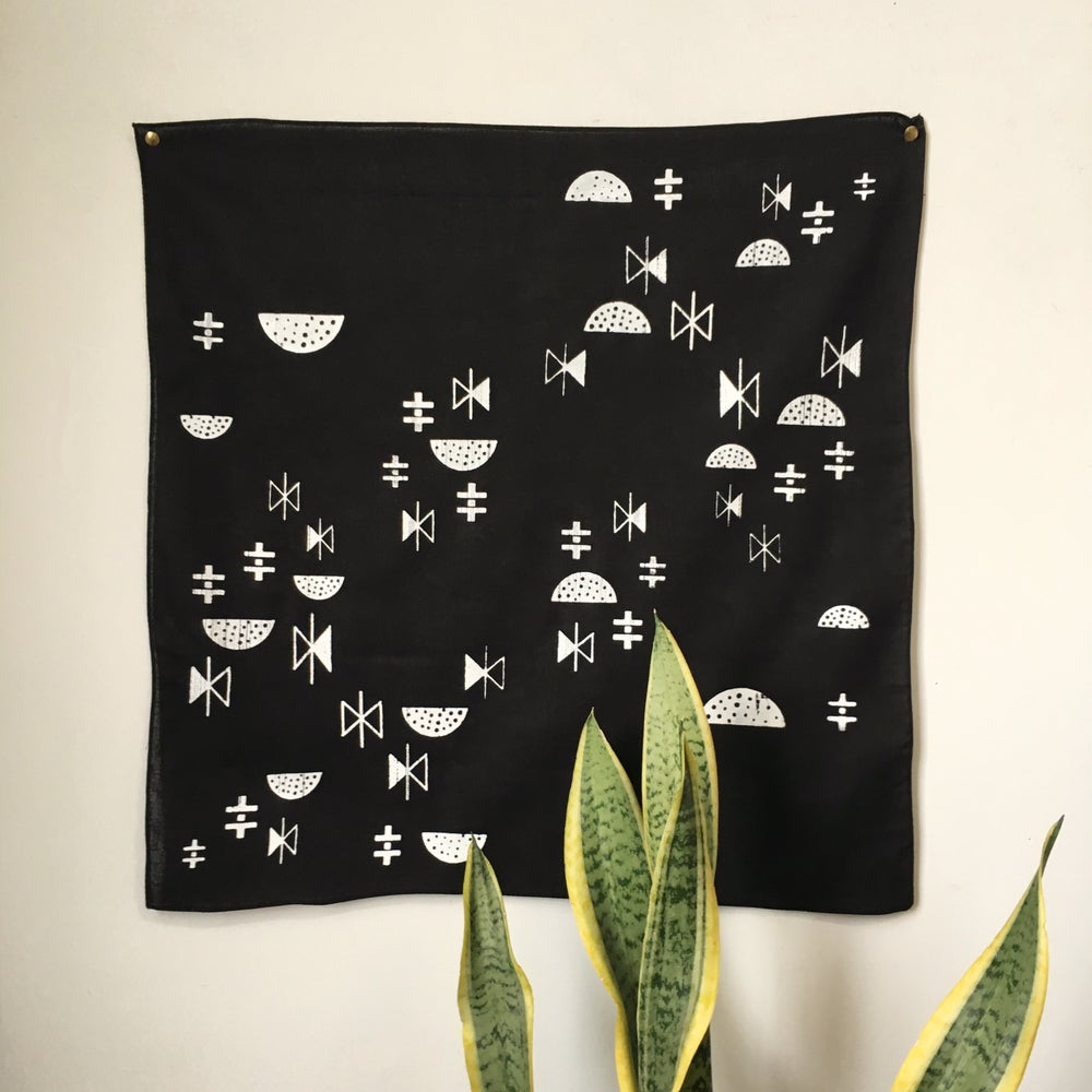 Image of Moon and Stars Print Bandana in White and Black
