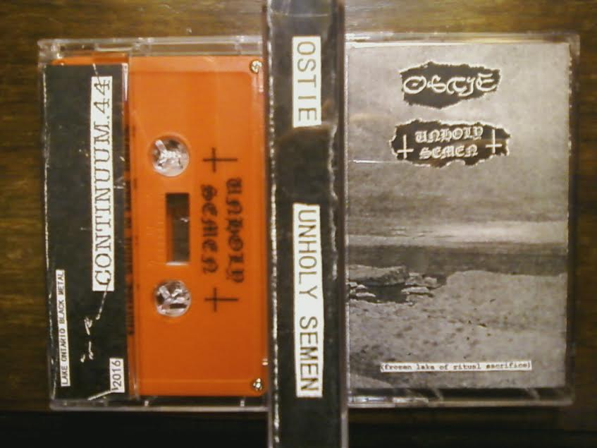 Image of C.44 Ostie / Unholy Semen 'Frozen Lake Of Ritual Sacrifice' split tape