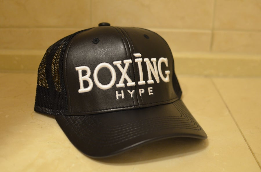 Image of Classic Black Leather Trucker BoxingHype SnapBacks