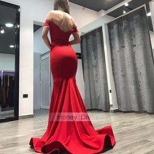 Image of Red Off-the-shoulder Sweetheart Mermaid Long Formal Gown, Evening Dress With Sweep Train
