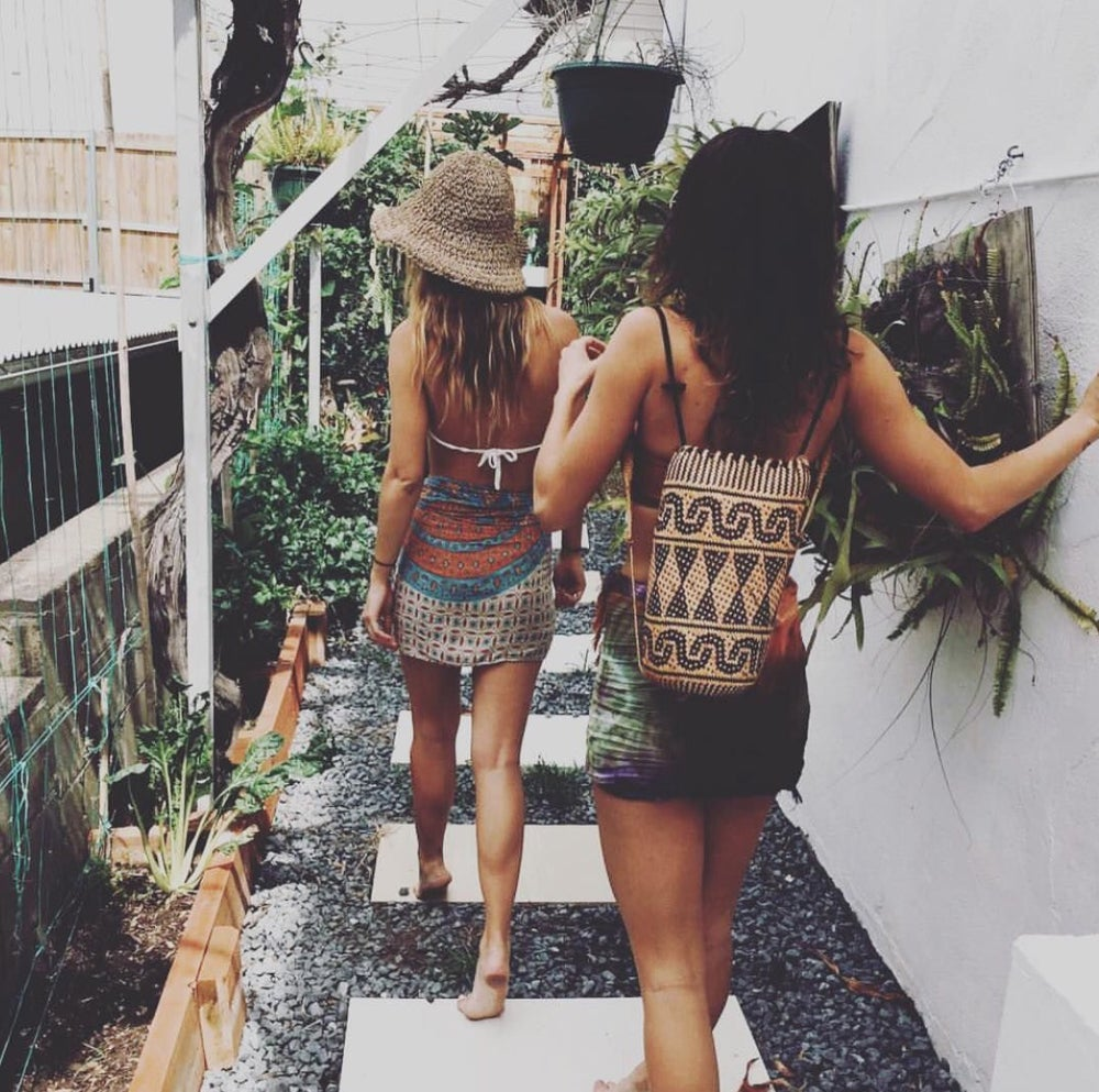Image of Patterned Boho Borneo rattan beach bags