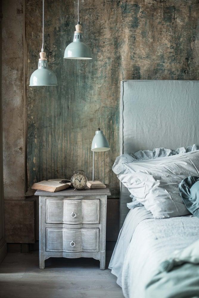 Image of Testata da letto imbottita in lino grigio-azzurro cuciture a vista
