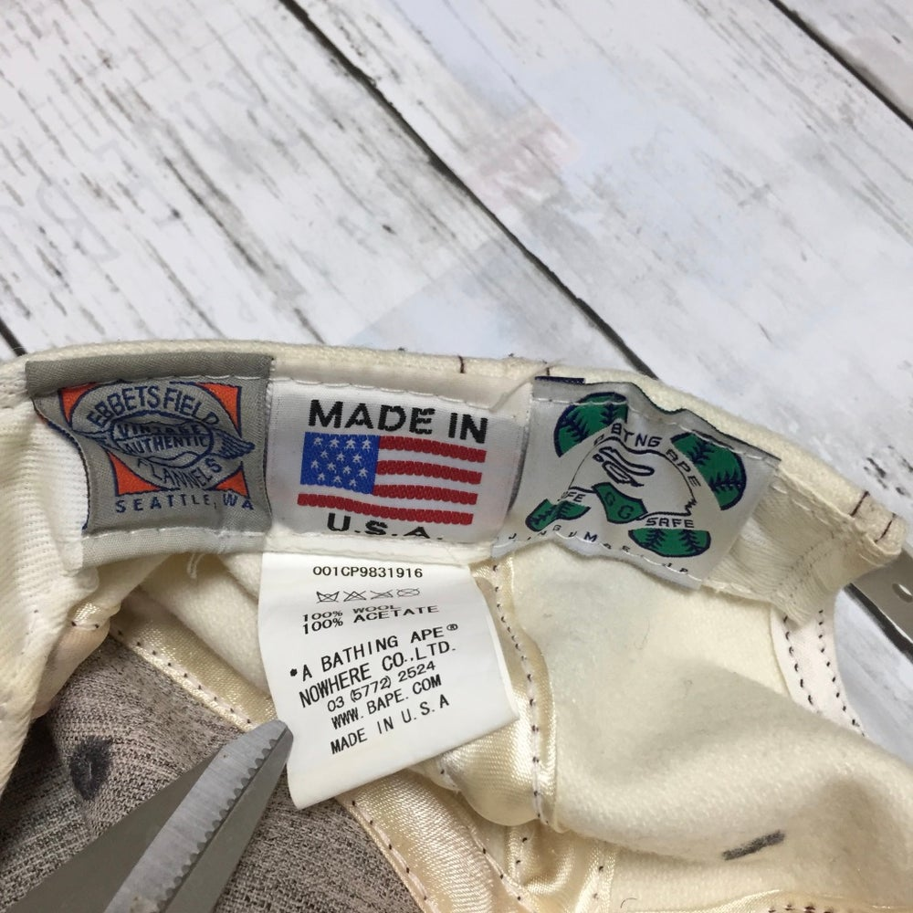 Image of Vintage Rare Bape x Ebbets Field Flannel Pennant Wool Snapback