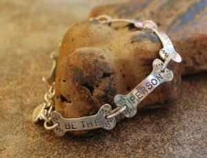 "Image of ""Be the Person Your Dog Thinks You Are"" sterling bone link bracelet"