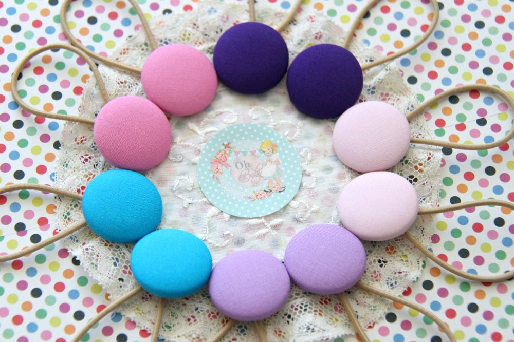 Image of Fabric Button Hair Ties Assorted - LARGE 3cm