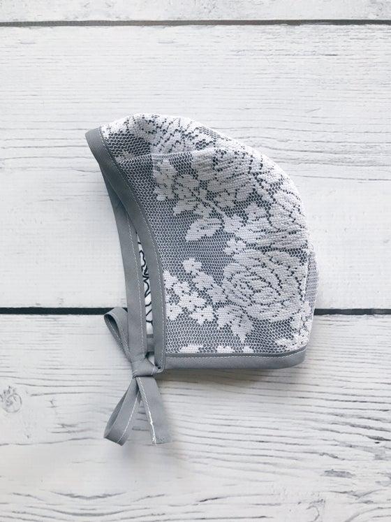 Image of Grey Lace Reversible Bonnet