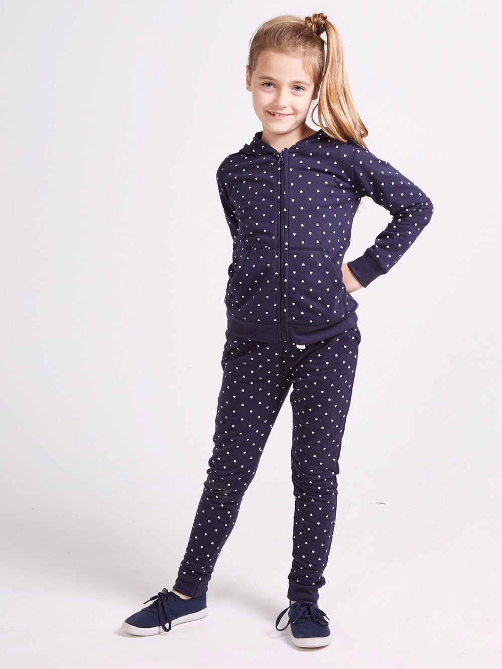 Image of Girls navy heart tracksuit