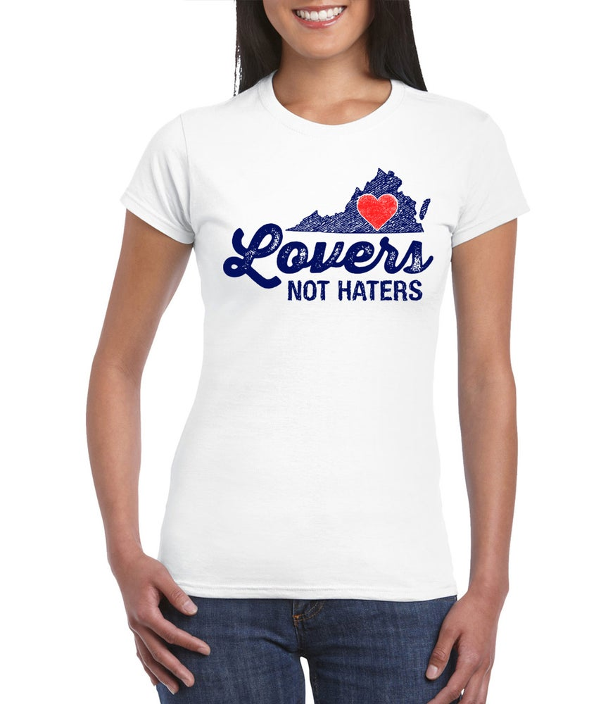 Image of Virginia Lovers not Haters mens and ladies white tee