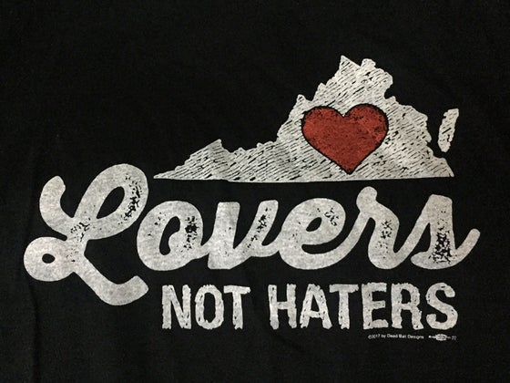 Image of Virginia Lovers not Haters mens and ladies black tee
