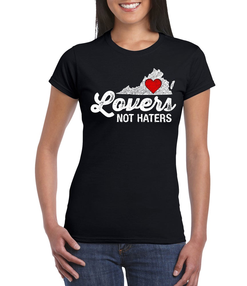 Image of Virginia Lovers not Haters mens and ladies black tee