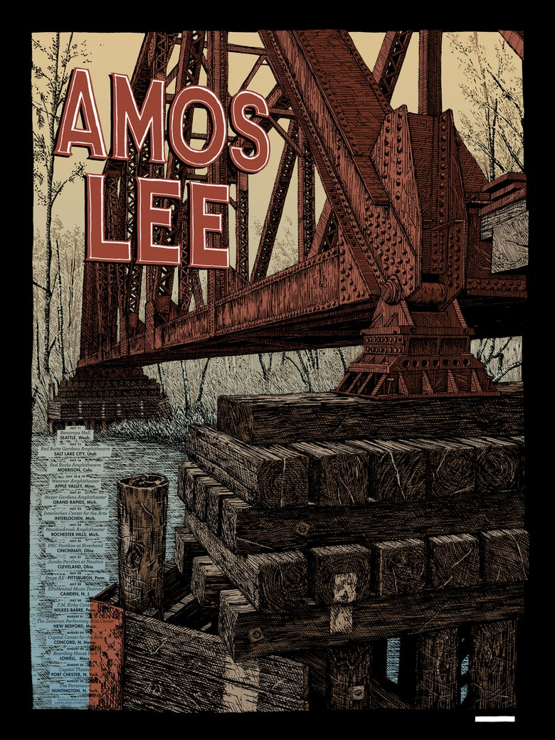 "Image of Amos Lee (Summer Tour 2017) • Limited Edition Official Poster (18"" x 24"")"