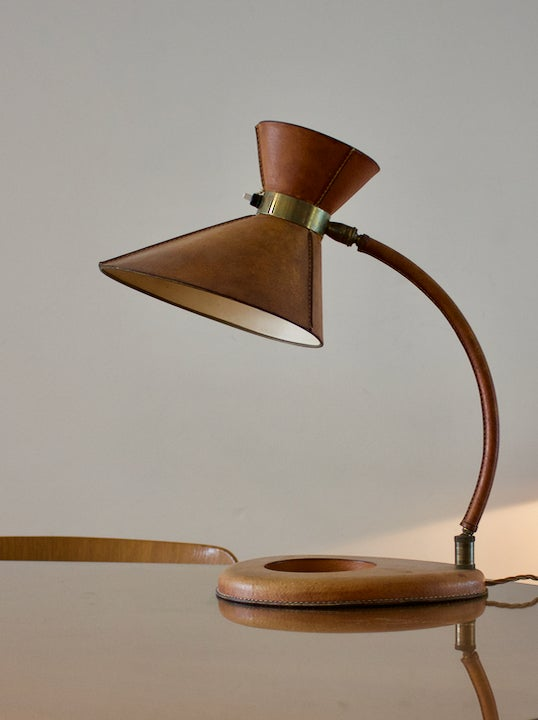 Image of Leather Desk Lamp in the style of Jacques Adnet