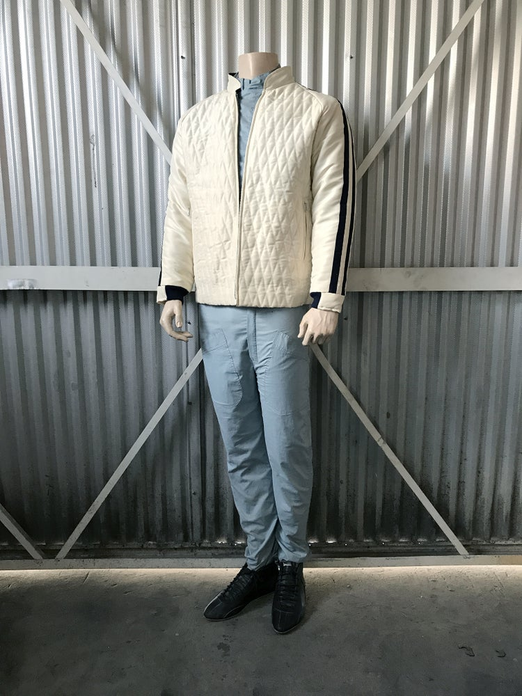 Image of VINTAGE INSPIRED DRIVERS JACKET - CREAM W/BLUE STRIPES