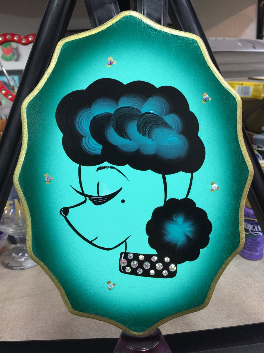 Image of Minty Sassy Poodle Plaque