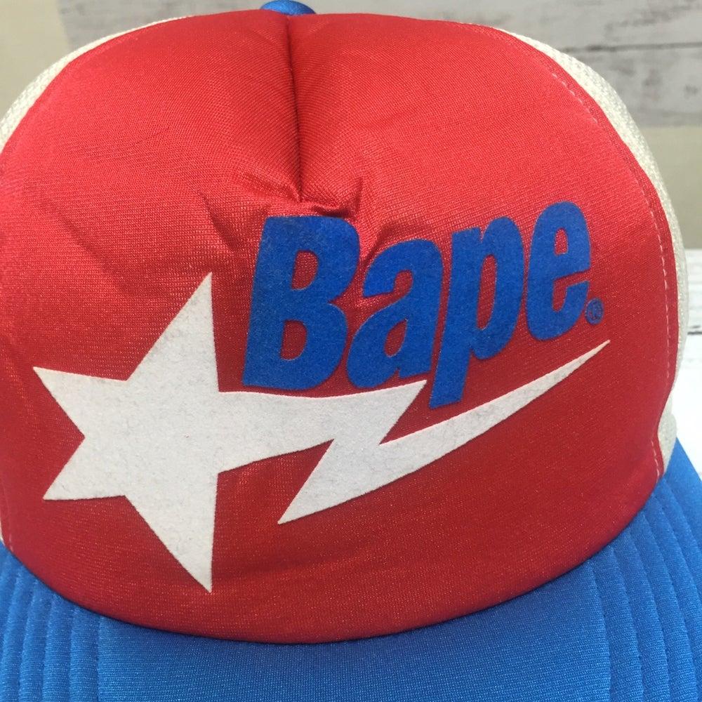 Image of Rare Bape Bapesta Logo Vintage Mesh Trucker Cap