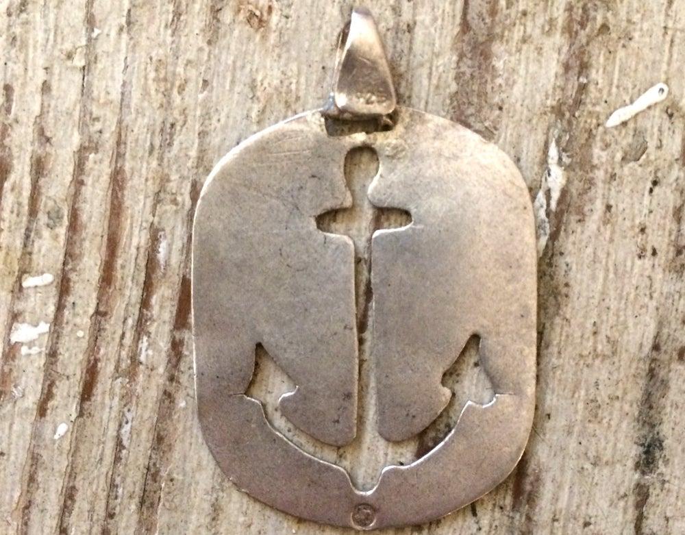 Image of Anchor sailor vintage silver pendant