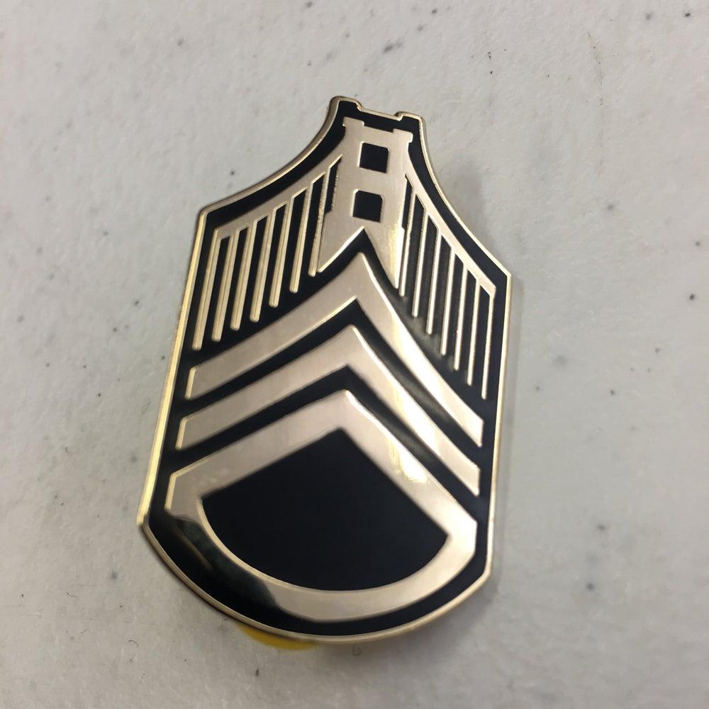 Image of Bay Stripes Pin (gold/black)