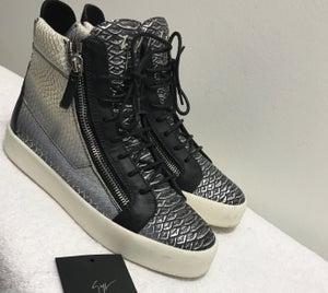 Image of Giuseppe Zanotti Men's Metallic Snake-Print High-Top Sneaker, Gray
