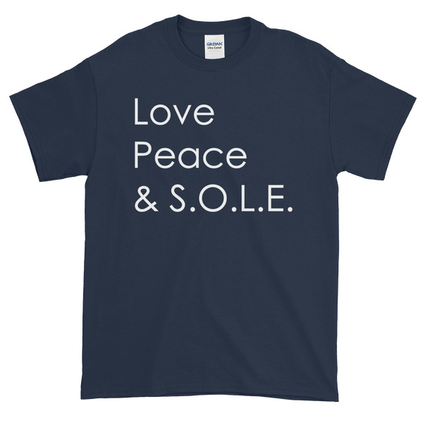 Image of Love Peace & S.O.L.E. Unisex Tee Navy