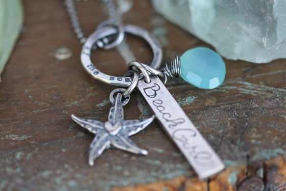 Image of Mermaid   hand stamped fine silver personalized necklace