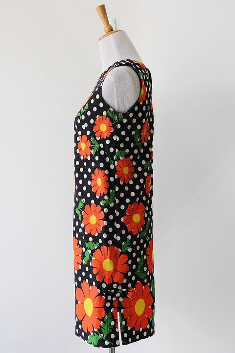 Image of Orange Daisies And Dots Dress