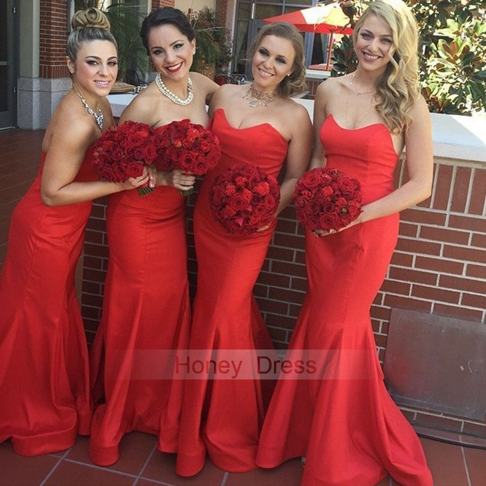 Honey dress red sweetheart satin mermaid long bridesmaid dresses honey dress red sweetheart satin mermaid long bridesmaid dresses red strapless party dress ombrellifo Image collections