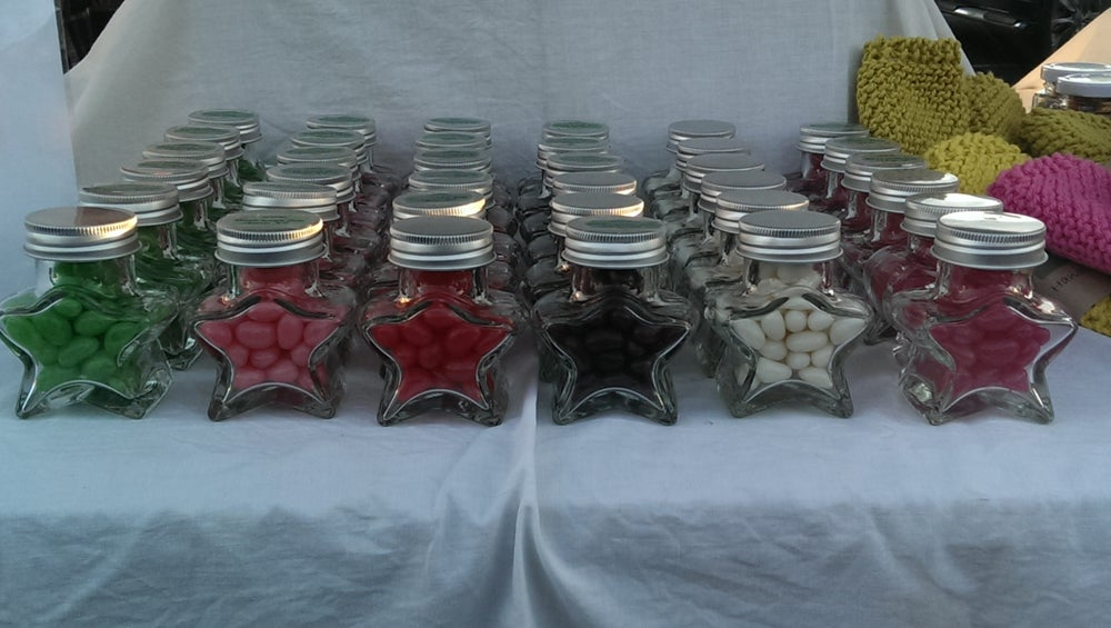 Image of Heart Jars filled with Coloured Chocolate buttons