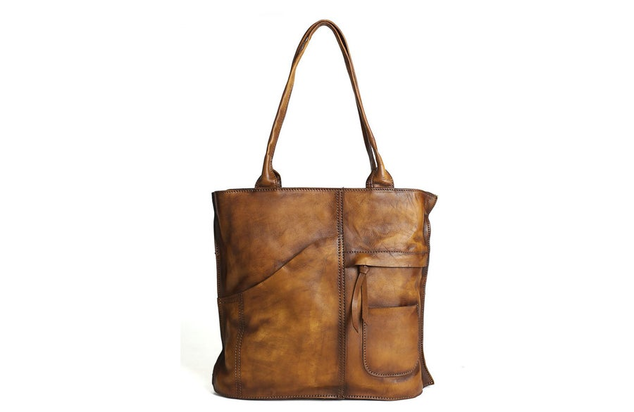 Image of Vintage Brown Leather Tote Bag, Women's Designer Handbags DD103