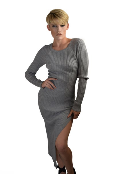 Image of Grey Ribbed Dress