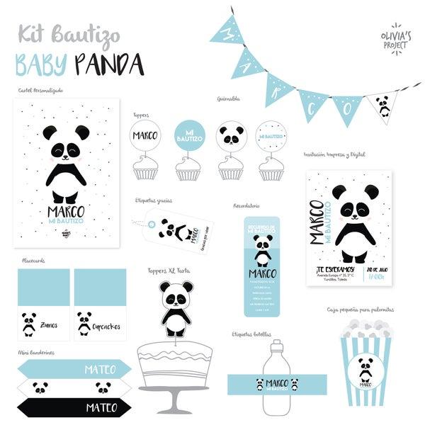 Image of Kit Bautizo Impreso Baby Panda
