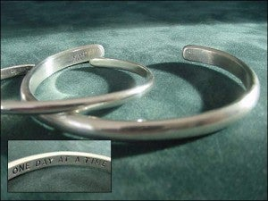"""Image of """"One Day At A Time""""  Men's Large Sterling Bracelet"""