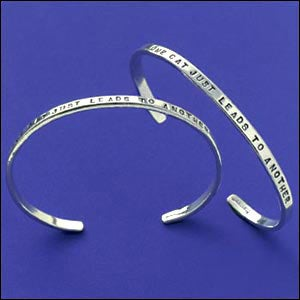 """Image of """"One Cat Just Leads to Another"""" Sterling Bracelet"""