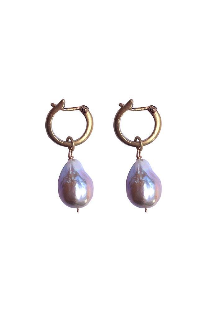 Image of Hoop with Pearl Earrings