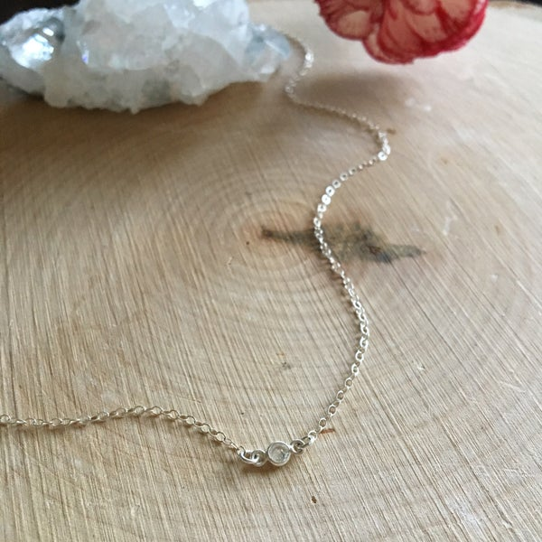 Image of Sterling silver mini single station cubic zirconia necklace