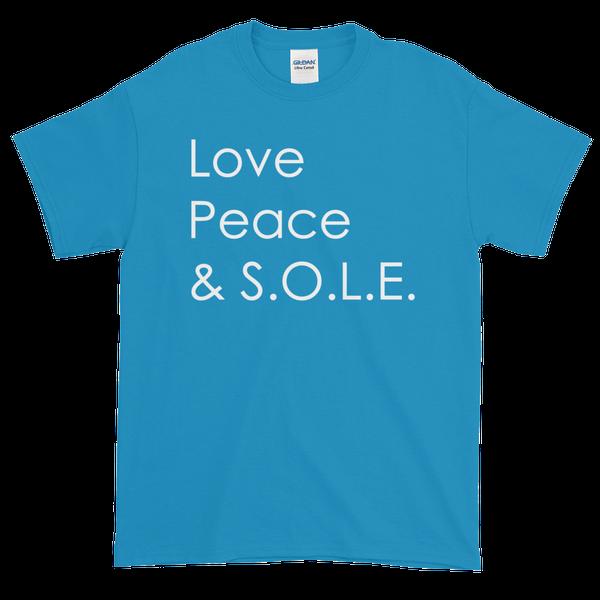 Image of Love, Peace & S.O.L.E. Unisex Tee Bright Blue