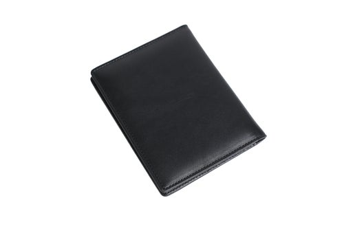 Image of Personalized Black Leather Travel Wallet, Passport Holder, Card Holder - Groomsmen Gifts DB08