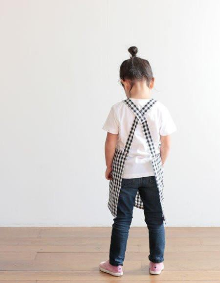 Image of Linen Kid Apron - navy & white checkered