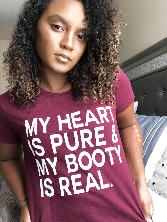 Image of My heart is pure & my booty is real (Women's) Maroon T-shirt