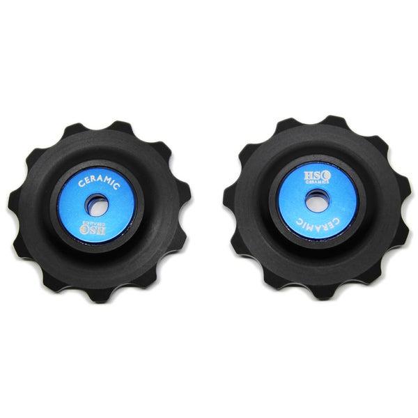Image of Ceramic Jockey Wheel Set - 11T Plastic Wheels (Blue)