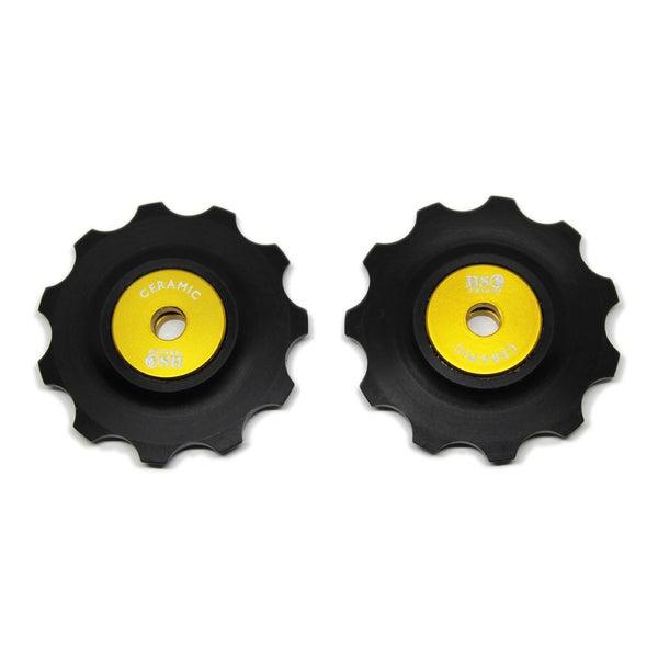 Image of Ceramic Jockey Wheel Set - 11T Plastic Wheels (Gold)