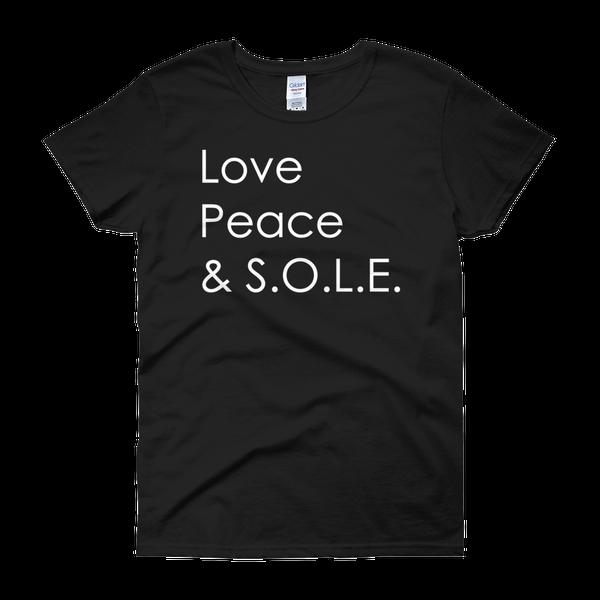Image of Love, Peace & S.O.L.E. Ladies Tee Black