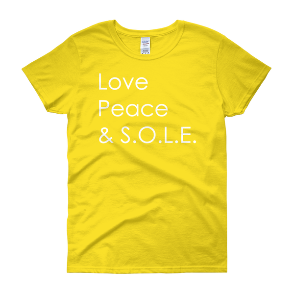 Image of Love, Peace & S.O.L.E. Ladies Tee Yellow