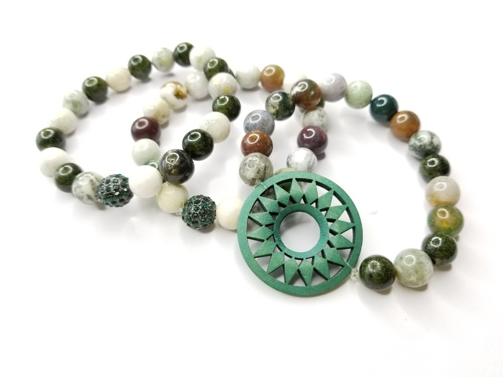 Image of Fall Jade Gemstone 3 Piece Bracelet Set