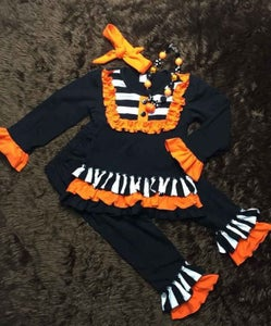 Image of Halloween Black and Orange Pant Set