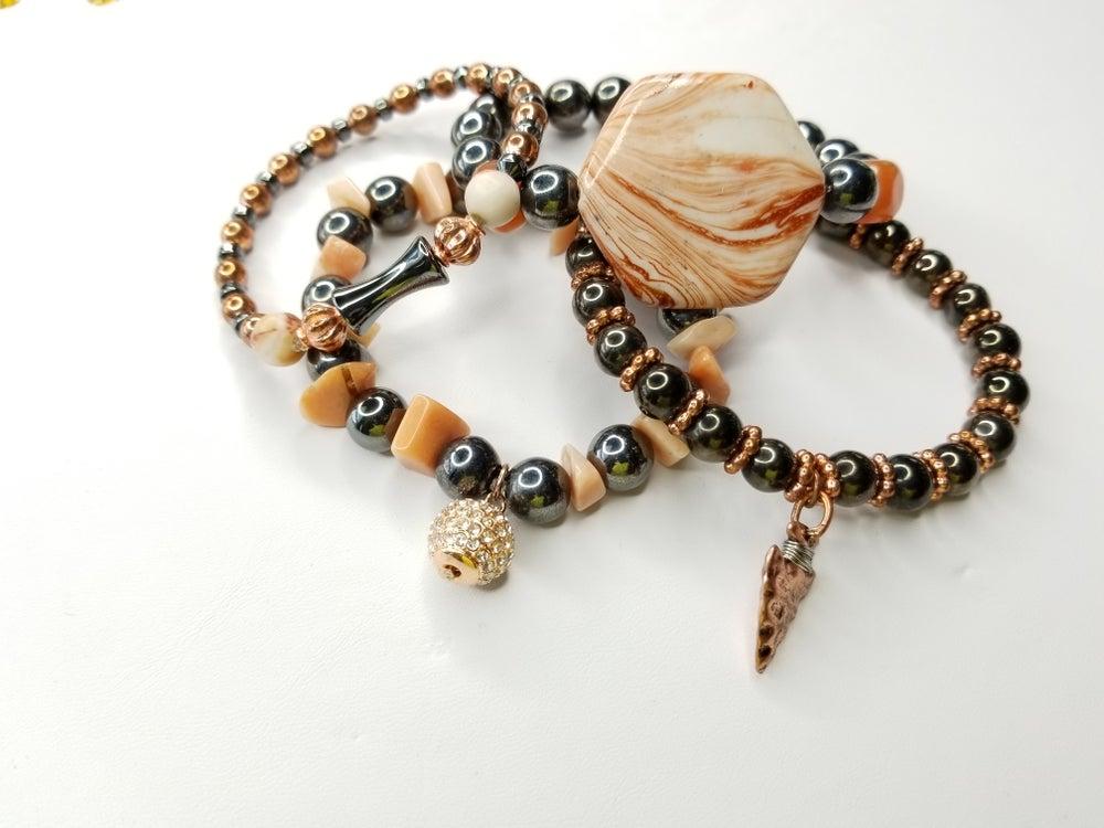 Image of Hematite & Aventurine Gemstone 4 Piece Bracelet Set