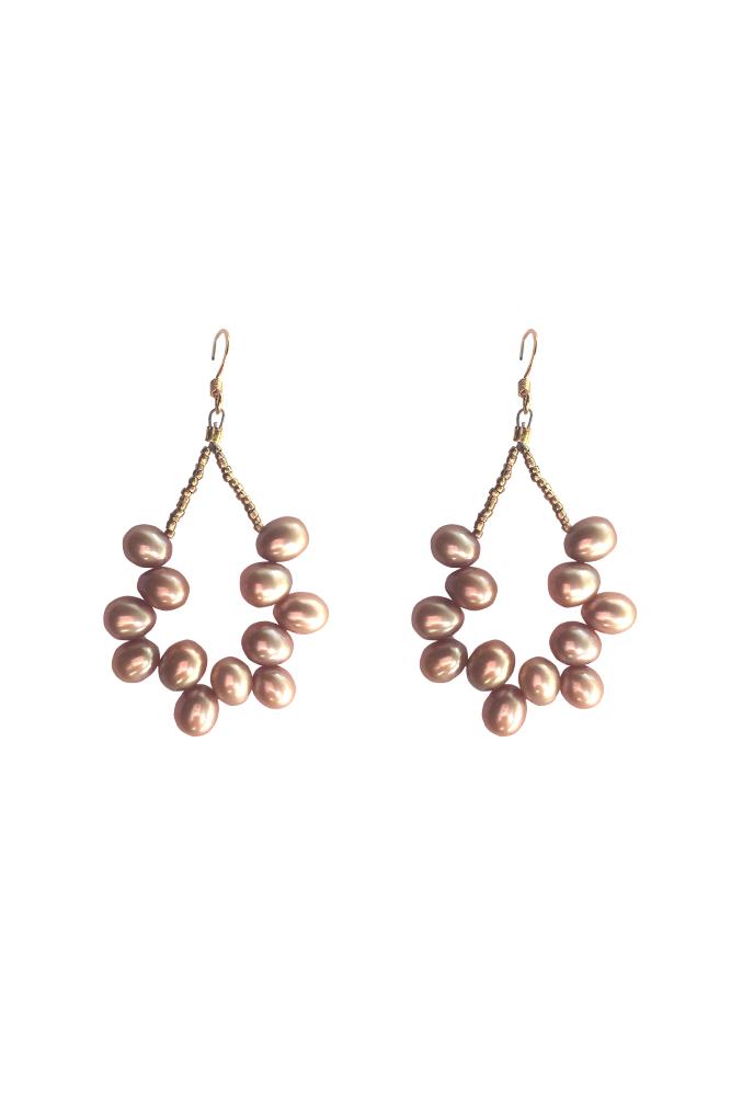 Image of Pearl Hoop Earrings