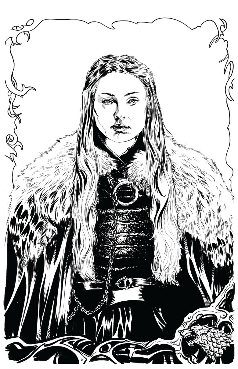 Image of Lady Sansa original inked artwork