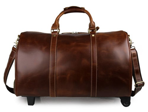 Image of Genuine Natural Leather Travel Bag with Wheels, Leather Trolley Bag, Duffle Bag 12026