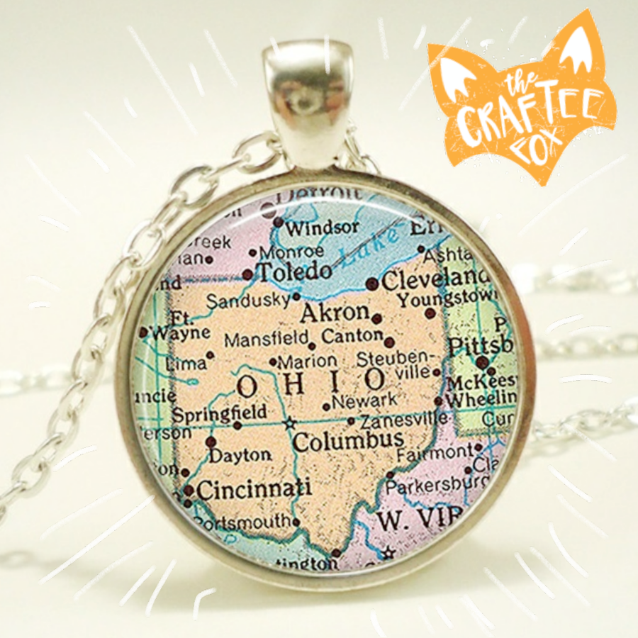 Image of Ohio map necklace